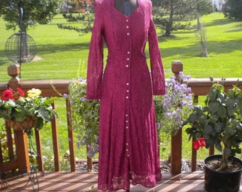 SALE Vintage Burgundy 1970's 1980's Lace Sheer Gypsy Long Hippie  Maxi Dress