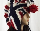 Union Jack Mohawk God Save the Queen Hat - Mohair Wool (Red, White, Blue) Made to Order