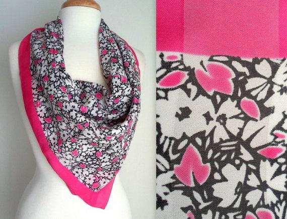Pink White & Black Floral Scarf