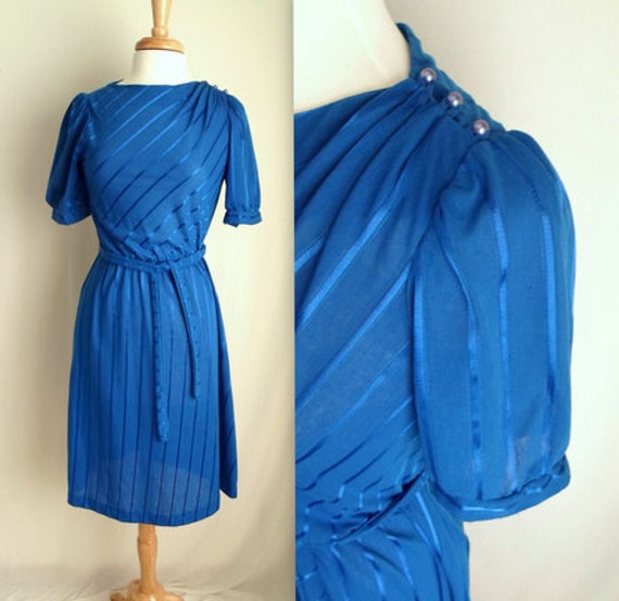 Royal Blue Striped Secretary Dress with Belt