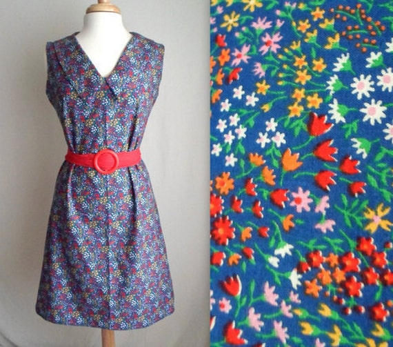 Rainbow Floral Dress with Red Scarf Belt & Buckle