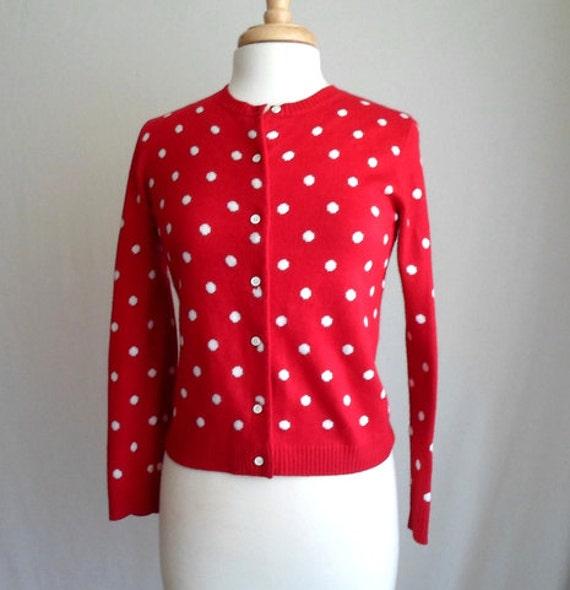 Red & White Polka Dot Cardigan