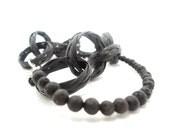lava stone bracelet- gemstone wood-eco friendly bracelet-  black straw /silver-minimalistic nature- black  shabby chic -black stone bracelet
