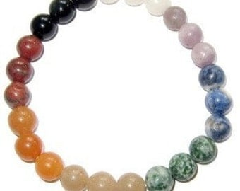 Chakra Stretch Bracelet All Natural Semi-Precious Stones Healing Metaphysical