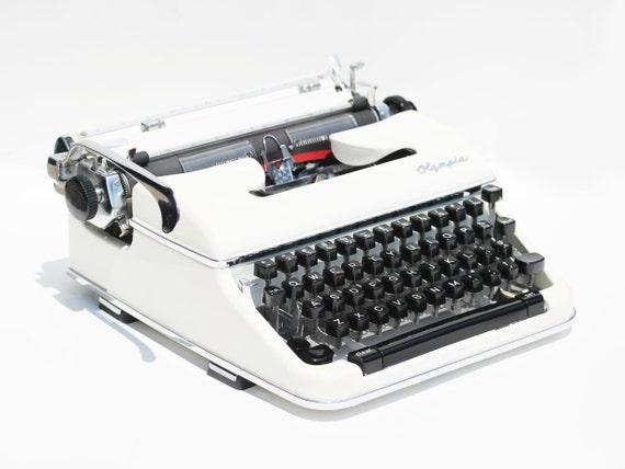 Vintage White Olympia SM4 Portable Typewriter