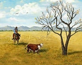 Cowboys, horses, cattle, mountains, trees, Ellen Strope, prairie, herding, western decor, note cards, prints, art, giclee prints