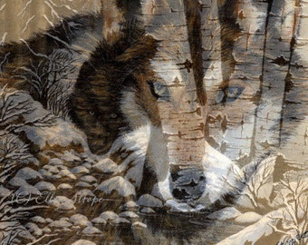 CARD, note card, wolves, multi exposure, aspen trees, wolf decor, Ellen Strope, castteam, cabin decor, lodge decor, rustic decor