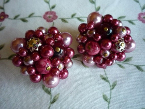 Multi Bead Cluster in Shades of Rose Clip Earrings