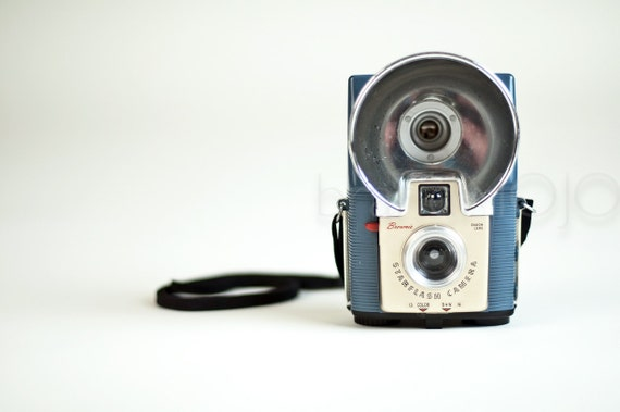 Kodak Brownie Blue Starflash camera with long strap - vintage retro mid century bakelite decor toy camera 1950s 1960s