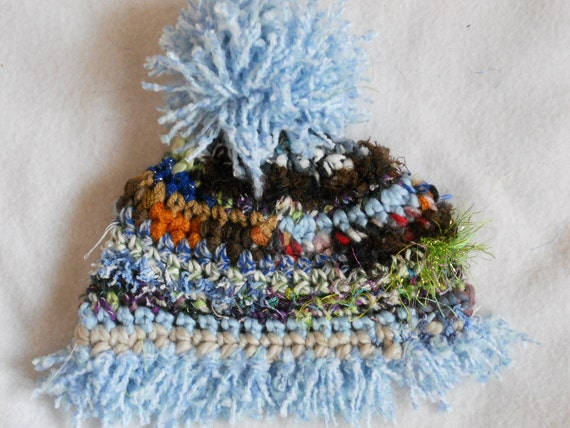 Blue Fringed Baby Hat - raggedy patchwork cap -  15 inch circumference - Ready2Ship Number 67