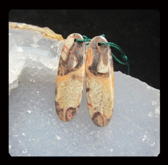 Mushroom Jasper Oval Earring Beads,37x12x5mm,6.22g