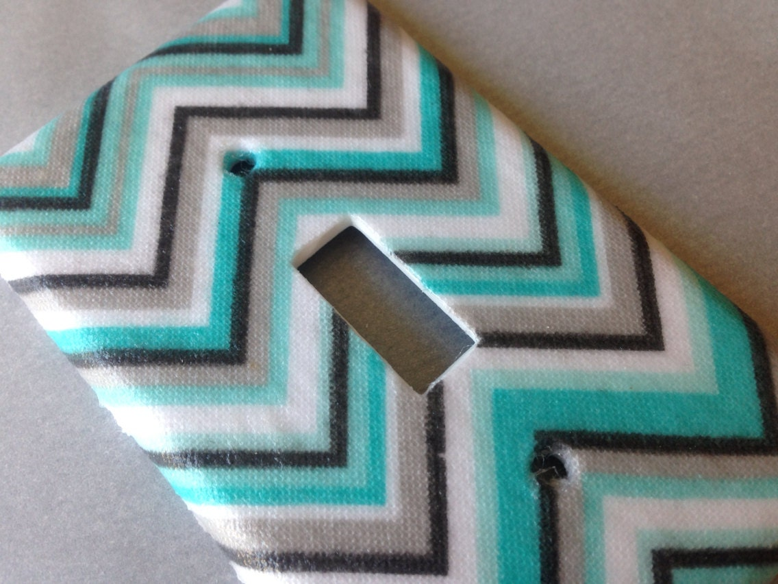 Blue And Gray Chevron Light Switch Plate Cover Turquoise And