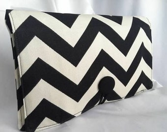 Diaper Wipe Clutch- Black and White Chevron-  Organize your Diaper Bag