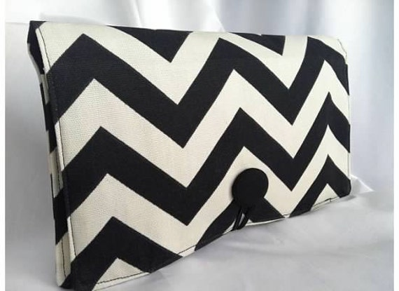 Diaper Wipe Clutch- Black and White Chevron-  Organize your Diaper Bag