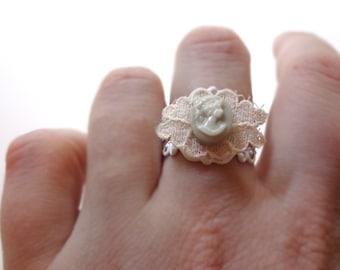 Light Gray Tiny Cameo Ring on Lace - Adjustable Filigree