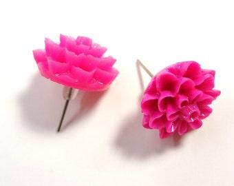 Hot Pink Chrysanthemum Post Earrings