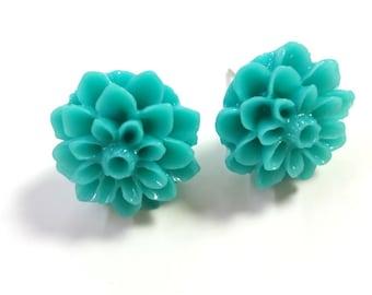 Teal Flower Earrings, Flower Earrings, Turquoise Earrings, Turquoise Flower, Vintage Style, Bridesmaid Earrings, Chrysanthemum, Posts, Studs