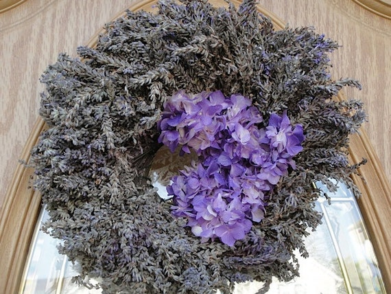 Lavender Wreath With Lavender Preserved Hydrangea On Sale