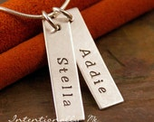 Personalized Jewelry - Hand Stamped Mommy Jewelry - Sterling Silver Necklace - Two Vertical Tags Deluxe