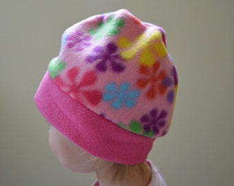 Fleece Hat- Flower Power- Toddler Hat