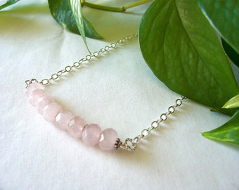 rose quartz necklace, pink necklace, bar necklace, gemstone necklace, Spring 2017 fashions trends, great gift idea