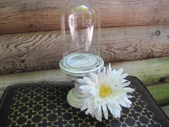 Upcycled Tall Glass Dome Cloche With White Pedestal