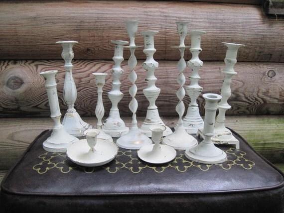 Dozen Wedding Centerpiece Brass Candle Holders Painted Creamy White