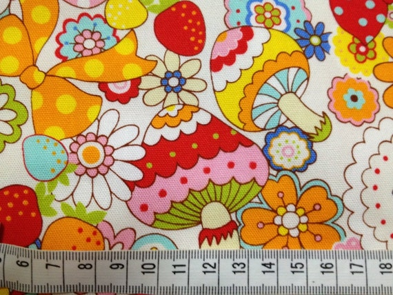 Colourful mushroom party 100cm x 70cm