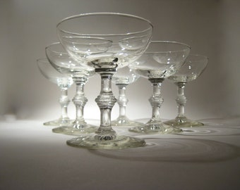 6 Vintage Champagne Glasses with Bamboo Stem - Coupes - Saucers
