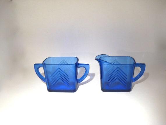 Cobalt Blue Depression Glass Cream & Sugar Set - Chevron