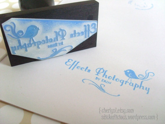 Personalized 2 by 1 Inch Designer Rubber Stamp - Rectangle Square Round Oval (Any Shape) - Custom Design