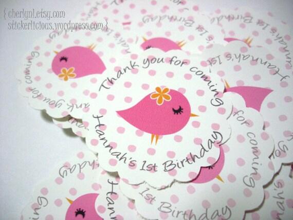 "50 Cute Owl / Bird Labels Stickers Tags Seals Favor - Custom Designs - 1.5"", 1.75"", 2.5"" Round Scallop Shape Decorative Circles"