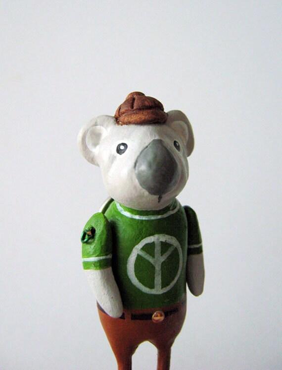 koala bear brooch pin in green peace sign shirt -  handmade