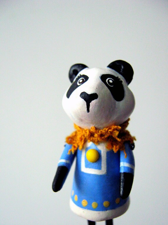 Panda Brooch Pin in White Trimmed Blue Dress, Black and White Bear,Handmade Animal, One-Of-A-Kind by Murmur Fremo