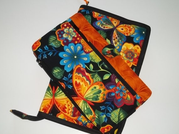RESERVED FOR MUDD. Deluxe Spill Proof Needlecase Orange Butterflies