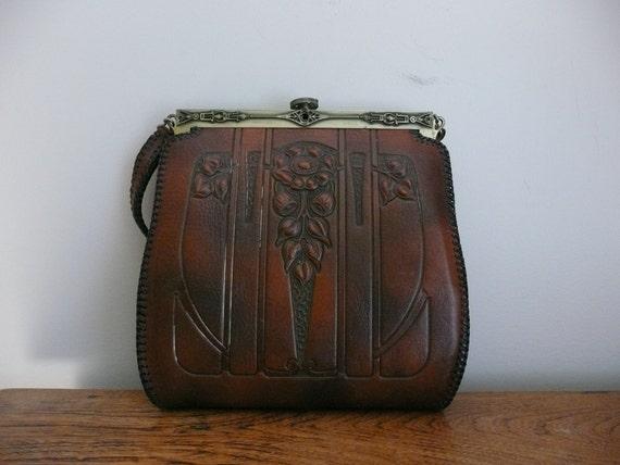 Vintage 1920s 1930s Art Nouveau Leather Handbag