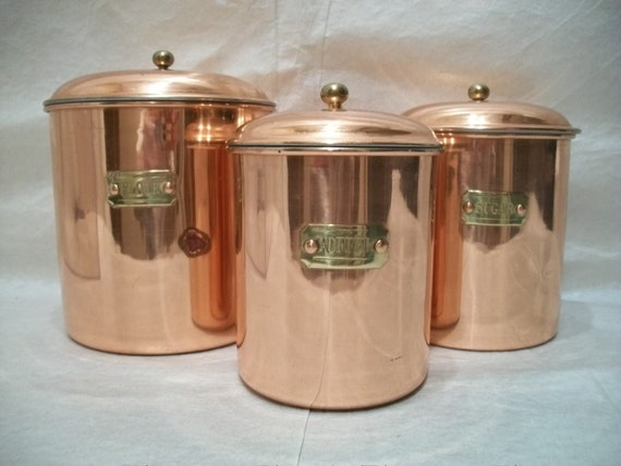 Vintage Copper Canister Set of 3, Vintage Houswares, Kitchen Canister Set, Copper containers