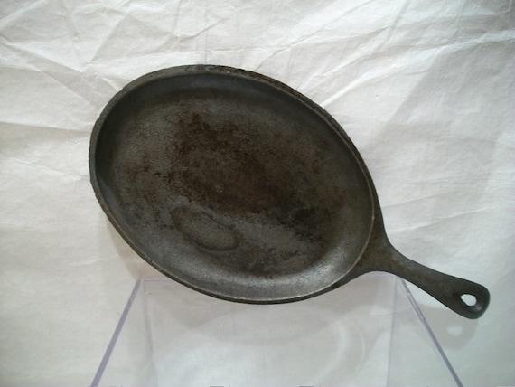 Vintage Cast Iron Griddle Pan Oval Cast Iron Pan Cast Iron