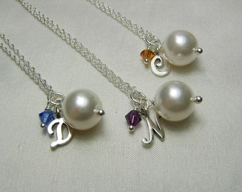 Bridesmaid Jewelry Set of 8 Bridesmaid Gift Pearl Initial Necklace Bridesmaid Wedding Jewelry Personalized Bridesmaid Necklace Gift