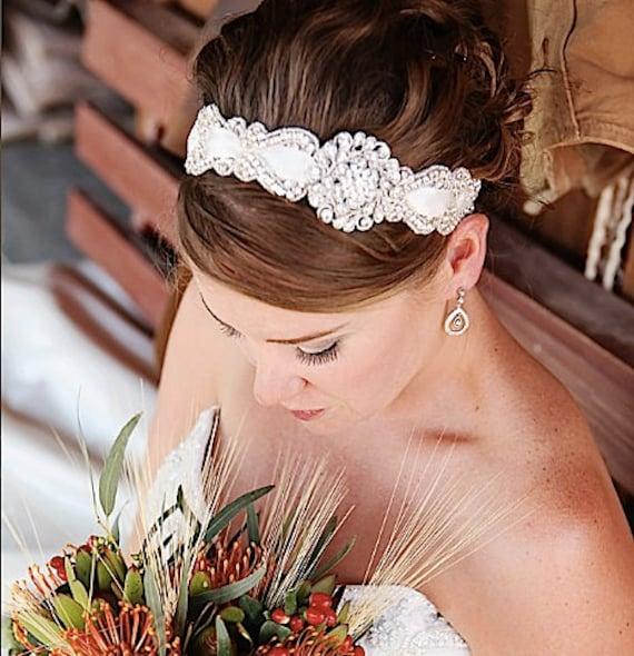 Vintage wedding headband, Bridal Crystal Headband, Bridal Headpiece, Wedding Headband,headband brooch,Wedding Head Piece, Crystal Headband