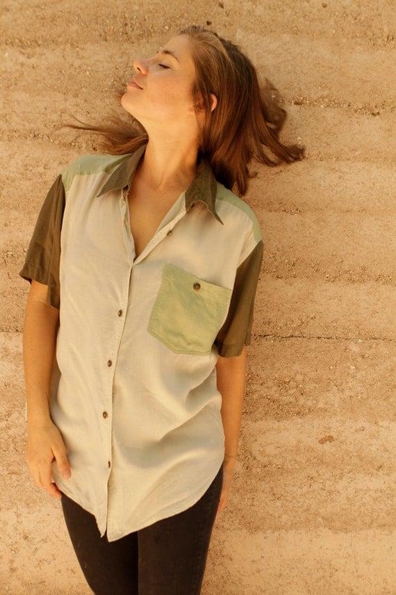 safari 90s COLOR BLOCK slouchy vintage KRISS kross shirt
