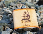 Personalized Stainless Steel & Leather 6oz Flask - Pirate Ship