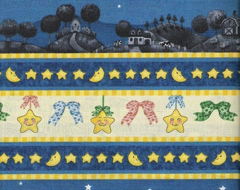 Blue Fabric White Sheep Fabric Border Fabric Moon Stars Fabric Cotton Quilting Fabric Yardage Craft Supplies YacketUSA