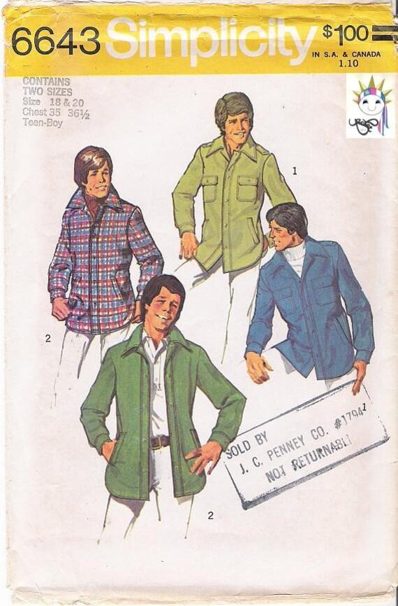 70s Unlined Shirt Jacket Patterns 1970s Pattern Simplicity 6643 Teens Boys Mens Size 18, 20 Uncut Patterns Vintage Craft Supplies YacketUSA