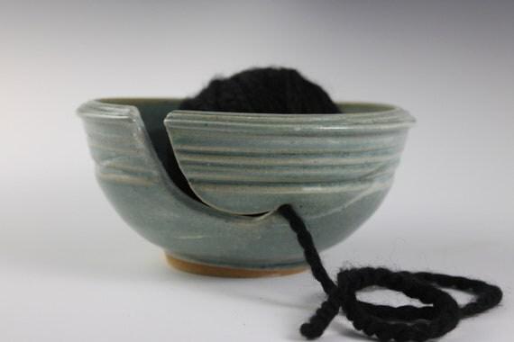Yarn Bowl Turquoise- Handmade Pottery Bowl- Knitting Bowl
