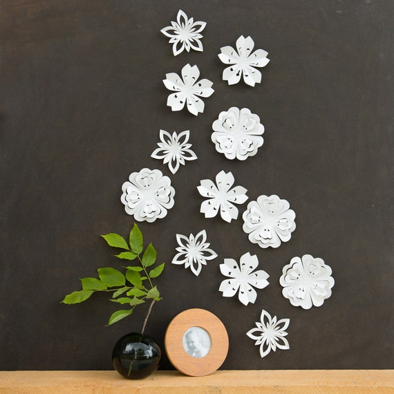 White Flower Wall Decor White Blossoms Pop-up Set of 12
