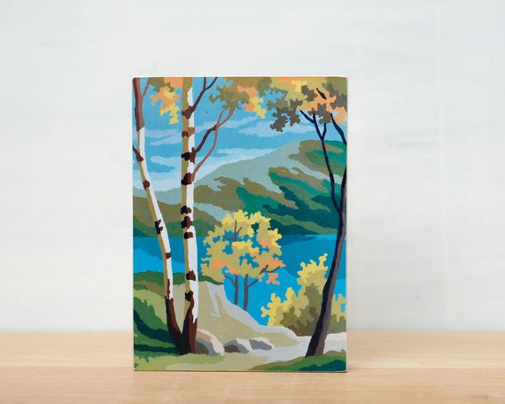 SALE - Paint by Number Small Art Block - 'Birch Lakeview'