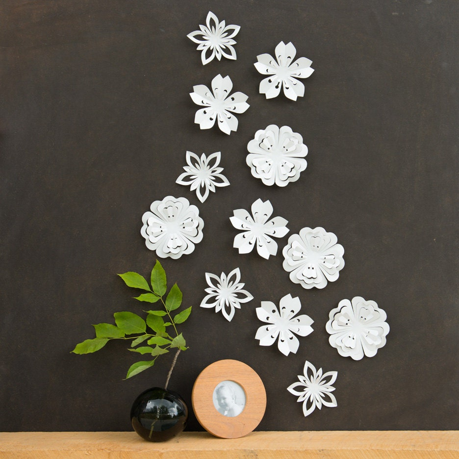 White flower wall decor white blossoms pop up set of 12 for White wall decor