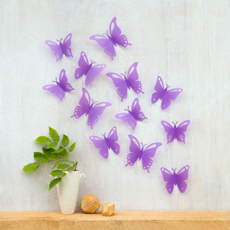 Purple butterflies wall decor : Butterfly wall decor pop up purple butterflies by