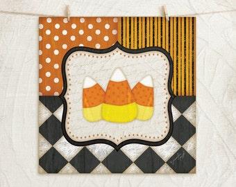 Black White Orange - Candy Corn - 12x12 Art Print - Halloween or Fall Decor - Fun Patterns - Black, White, Orange, Yellow, Gold